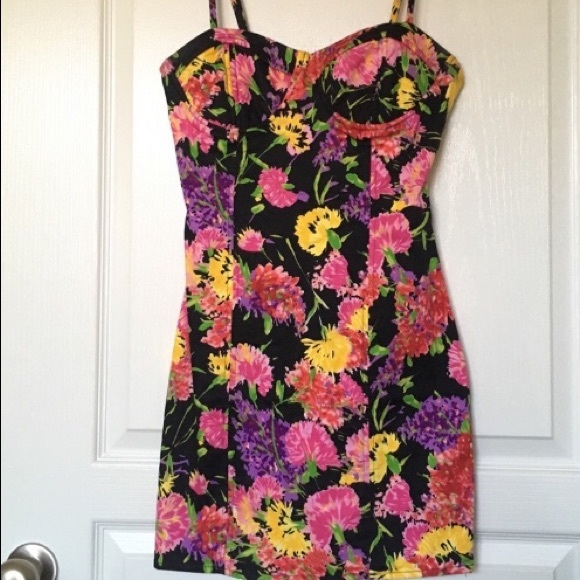 FOREVER21 Bright Floral and Black Dress